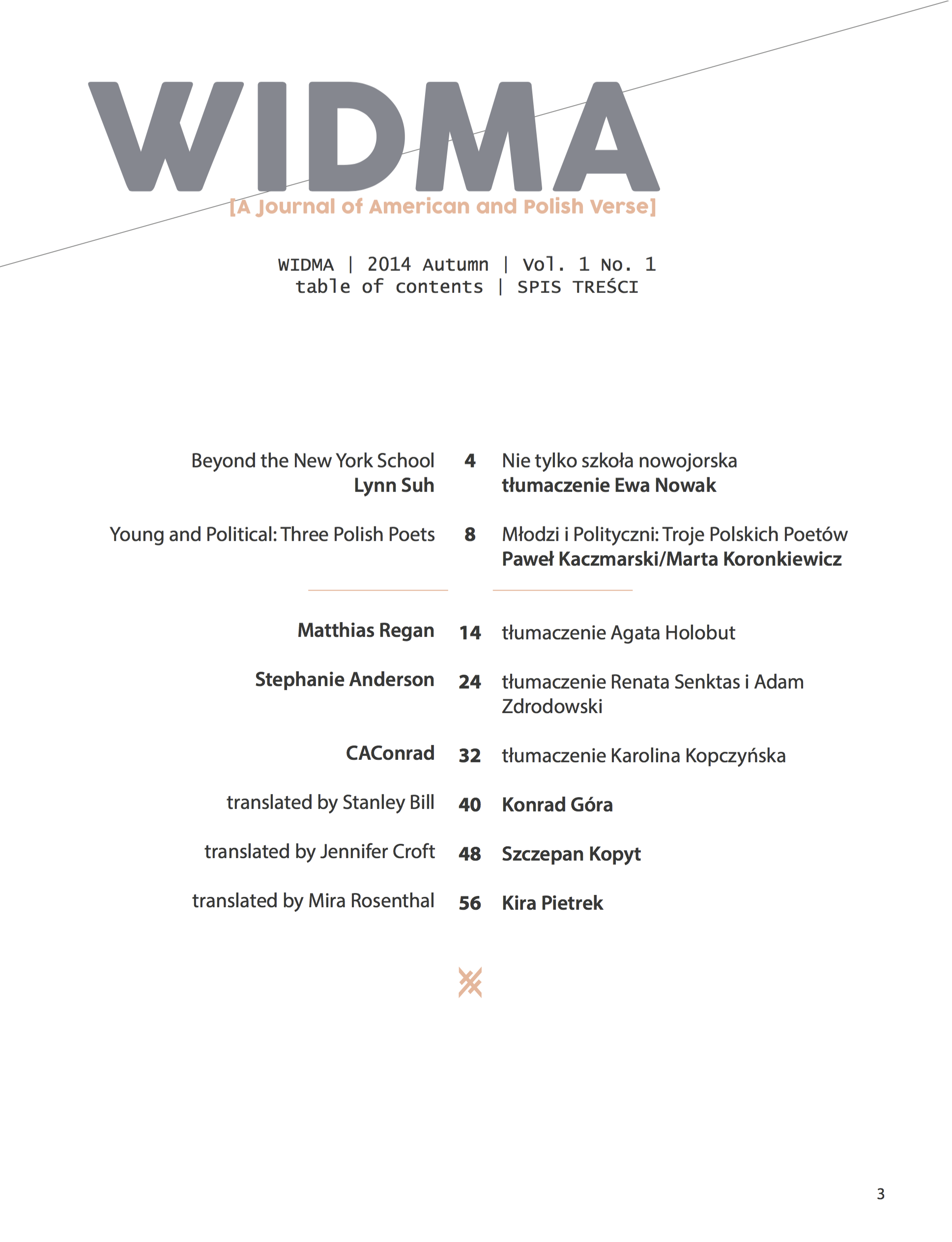 Widma vol.2, no.1. Page 2.